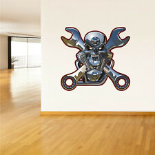 Color Wall Decal Vinyl Sticker Skull Motor Moto Motorcycle Symbol Wrench Col15