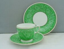 WEDGWOOD BONE CHINA 1930s TRIO GREEN FLORAL - MILLICENT TAPLIN? S423