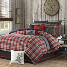 Woolrich Red & Gray Plaid Williamsport King Comforter Set, 4 Piece Bed In A Bag