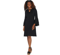 Isaac Mizrahi Pebble Knit Keyhole Dress with Ruffle Sleeves Black Color Size M