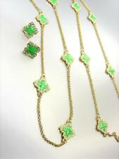 18kt Gold Plated Green Lacquer Enamel Clover Clovers Long Necklace Earrings Set
