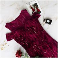 Ever-Pretty Cold Shoulder Bridesmaid Dress Burgundy Long Evening Sequins 07396