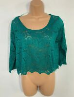 WOMENS MONKL GREEN 3/4 SLEEVE CREW NECK SHEER LACE BLOUSE SHIRT TOP SIZE S SMALL