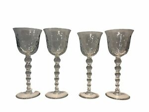 4 Saint Louis bubble glass goblets