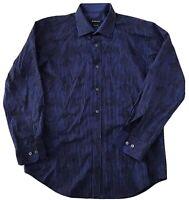 Bugatchi Sz M Mens Striped Swirl Shaped Fit Long Sleeve Button Up Shirt Blue