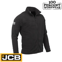 JCB Black Full Zip Micro Fleece Jacket Mid Layer Warm Work Wear Tradesman Trade