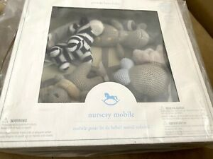 POTTERY BARN Knit Animal Friends Gray Musical CRIB MOBILE Nursery Boy Girl NEW