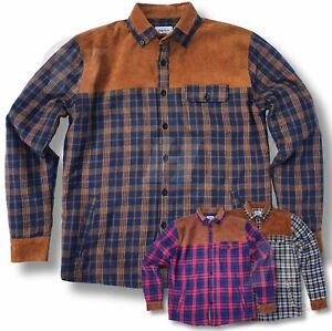 Men Flannel Fleece Lined Shacket Shirt Check Work Warm Tartan Button Work Casual