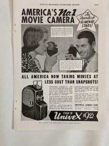 Vintage Print Advertisement - 1937 - Universal  Univex Cine 8 movie camera