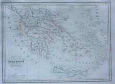 Original antique map GREECE, CRETE, PELOPONNESE, Malte-Brun, 1846
