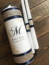 Navy and Gold Wedding Unity candle - Real crystals - Gold Wedding - Custom