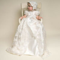 3 Pcs Vintage Christening Dresses For Baby Baptism Gown First Communion +Hat