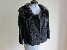 Vintage Curtis Stewart Fine Furs, Cropped Black Lamb And Beaver Collar Jacket