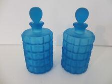 2 - Vintage Portieux Vallerysthal Blue Satin Made in France Perfume Bottles