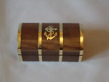 Small Sea Chest With Brass Anchor Inlay Gift Box -Marine Nautical Wooden Box