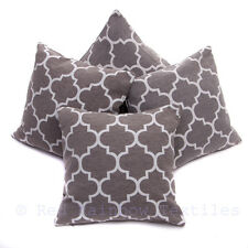 Set of 4 Grey & White Geometric Moroccan Design Chenille 18 Inch Cushion Covers
