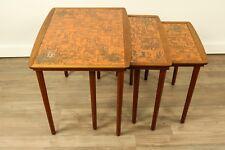 Satztische Teak Holz Kupfer Design Vintage Nesting Tables Denmark Møbelintarsia