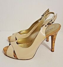 GUESS Cork Heel Leather Open Toe Slingback Platform Pumps Size 7M