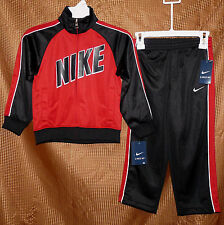 NIKE boys 2 piece track suit long sleeve jacket pants red black size 4 NWT