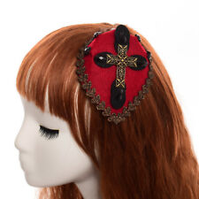 Gothic Women Cross Red Mini Hat Hair Clip Hairpin Vintage Lady Headwear