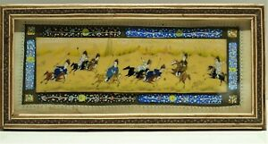 Antique POLO PLAYERS Hand Painted Bone Marquetry Inlaid Frame Equestrian Persian