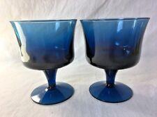 Pair of Cobalt Blue Cordial Wine Glasses Mid Century Modern