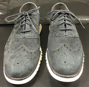 Cole Haan Zerogrand Suede Wing Tip Oxford Black Size 8.5 M (C12981)