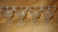 Vintage Cut Glass Cordial Glasses Footed ball stem deep cut vertical lines 4 4oz