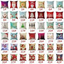 Christmas Santa Claus Pillow Case Linen  Cushion Cover Decor Home Sofa Throw
