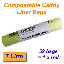 52 x 7 Litre Compostable Food Waste Caddy Liner Bags Biodegradeable