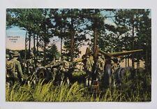 """""""Artillery Firing"""" Old Military Linen Postcard"""