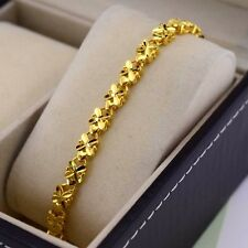 "24k Yellow Gold Filled Charm Flower Bracelet 8.26""Chain Link GF Fashion Jewelry"