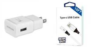 Samsung Galaxy S8/S8+/S9/S9+/S10/Note 8 9 OEM Fast Adaptive Wall,10 Ft USB-C,Car