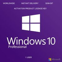 PRODUCT KEY - WINDOWS 10 PRO - 32/64 BIT - INSTANT DELIVERY