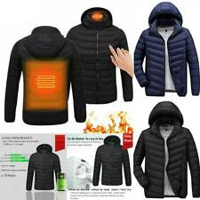 Mens Electric Thermal USB Padded Coat Heated Hoodie Jacket Body Warmer Clothes