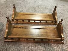 Lot of 2 Ethan Allen Tavern Pine Wall Hanging Plate Groove Curio Gallery Shelf