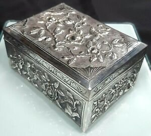 Superb Chinese Export Solid Silver Heavily Repoussed Caddy or Box with c1880