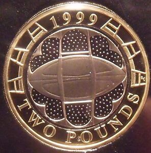 Cameo Proof Great Britain 1999 2 Pounds~Rugby World Cup~Packed Stadium~Free Ship