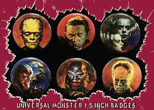 UNIVERSAL MONSTER BUTTON PIN LOT! 1.5'' Halloween Frankenstein Creature Wolfman