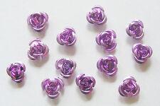 50 Aluminium Flower Beads/Rosebud Beads - 12mm - Purple