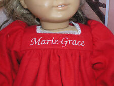 """Marie-Grace Embroidered Name Red Nightgown 18"""" Doll clothes fits American Girl"""