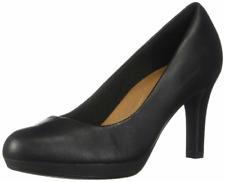 NEW Clarks Collection $90 Adriel Viola Black Leather Soft Cushion Pump Shoe  8 M