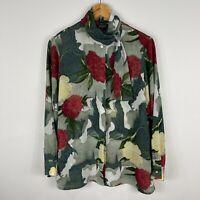 VINTAGE Bernini Womens Blouse Top 14 Multicoloured Floral Long Sleeve Mock Neck