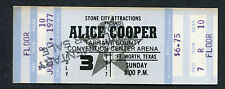 Alice Cooper 1977 Unused Concert Ticket Fort Worth King Of The Silver Screen