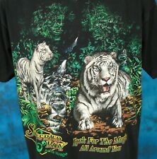 vintage 90s Siegfred & Roy White Tiger Hidden Magic 2-Sided T-Shirt Large face