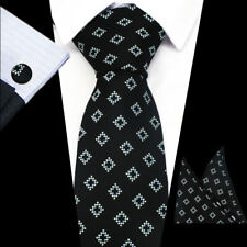 100% Pure Silk Neck Tie Cuff-links & Handkerchief Set Black with Silver Diamonds