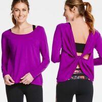 Fabletics size small S purple Aviana twist open back long sleeve tee work out