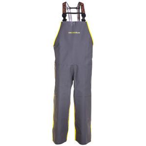 Grundens Hauler Commercial Fishing Bibs Hi-vis Yellow Gray Trousers Rain Gear
