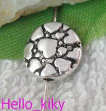 60Pcs Tibetan silver heart flat round spacer beads A9705