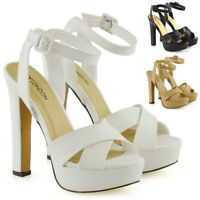 Womens Strappy Platform Block Heel Shoes Ladies Party Prom Opentoe Sandals Size